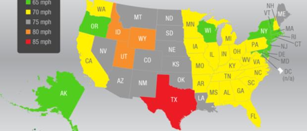 Carte des limitations de vitesse pour chaque état sur autoroute aux Etats-Unis